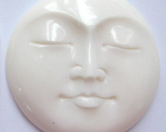 MS 13mm Round Moon Faces (2) Closed Eyes Carved Cow Bone Bali Fair Trade