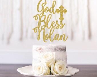 Personalized God Bless Cake Topper, Baptism Cake Topper, Christening Cake Topper, Any name