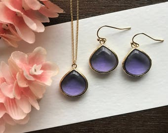 Amethyst necklace and earring set, February birthstone, February birthday gift, bridesmaid necklace, teardrop necklace, valentines gift