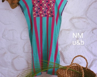 Handwoven striped dress. Beach dress. Cool and Vibrant colors . Handmade with love