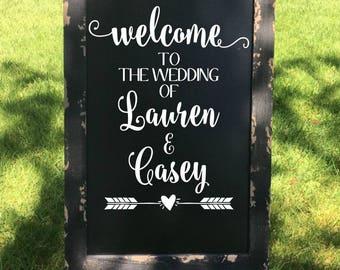 Welcome To The Wedding Of Decal Rustic Wedding Decor Rustic Wedding Decal Wedding Welcome Vinyl Country Wedding DIY Wedding Sign