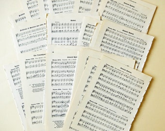 Hymn Music Book  Pages - Vintage 1920s.  Scrapbooking, Paper Ephemera, Mixed Media, Collage Supply PE239