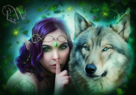 Fantasy Elf and wolf art print