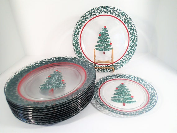 & Furio Sponge Tree Christmas Tree Glass Plates Set of 13
