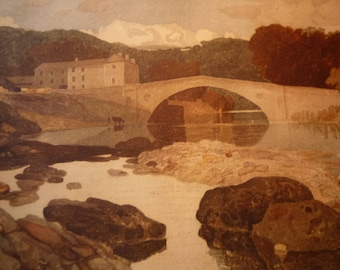 Greta Bridge by J S Cotman, English water color print 1949 - for art lovers  Dickens County Durham  framable 11 by 14 in