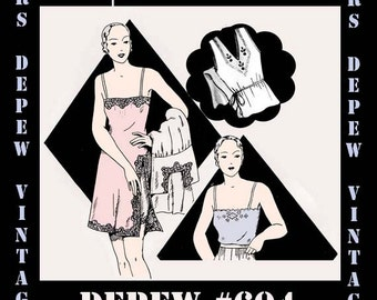 Vintage Sewing Pattern 1930's French Slip and Camisole in Any Size- PLUS Size Included- Depew 604 -INSTANT DOWNLOAD-