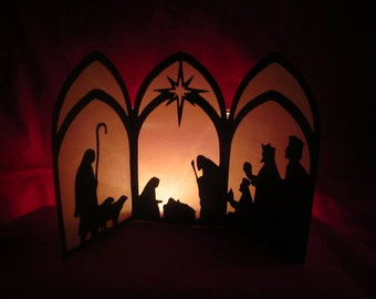 Silhouette Nativity - Tri-Fold Luminary - Manger Scene - Christmas in July - Christmas in August - Creche - Christmas -