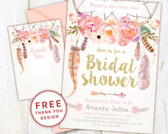 Rustic Bridal shower Invitation, bridal shower, Rustic Invite, bride to be, bridal shower invite, printable invite, wedding, dreamcatcher