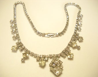 "Vintage 18"" RHINESTONE NECKLACE (5948) BEAUTIFUL Sparkle"