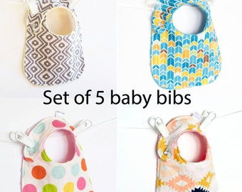 Baby Bibs, Set of 5 Your Choice of Fabric Adjustable, Reversible Bib with Minky for Baby Boys Baby Girls