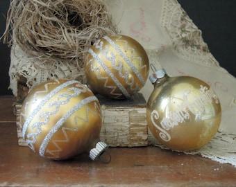 Three Vintage Gold Glass Ornaments / Shiny Brite Christmas Ornament / Mercury Glass Ornaments