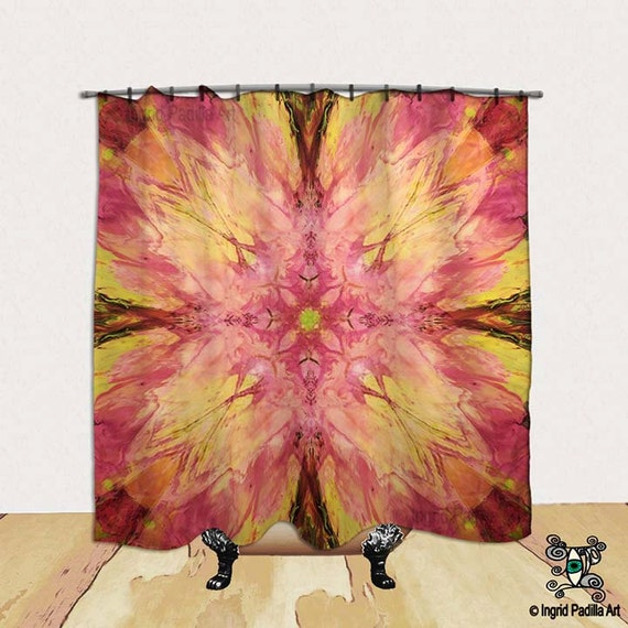 Bloom Pink, whimsical Shower Curtain, BOHO, Chic, vintage, decorative, Fabric, Bath Decor, Home Decor, Funky, Art, by Ingrid Padilla