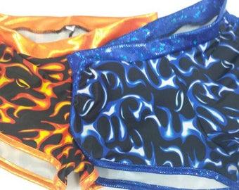 Flames Sassmasters, orange or blue, made to order!