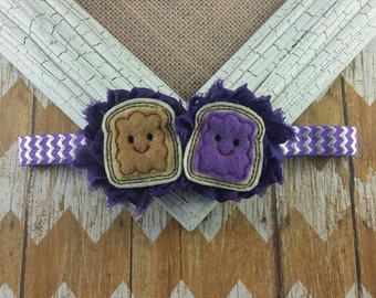 Peanut butter and jelly headband, PBJ headband, school headband, girls headband, toddler headband, toddler headband, baby headband, headband
