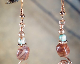 Earrings, Wire Wrapped Copper Earrings with Natural Stones on Nichol Free Ear Wires