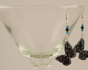 Glittering black butterflies with Swarovski crystals
