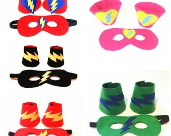 Superhero. Cuffs. Mask. Accessories. Made to order. Design your own. Dress Up.