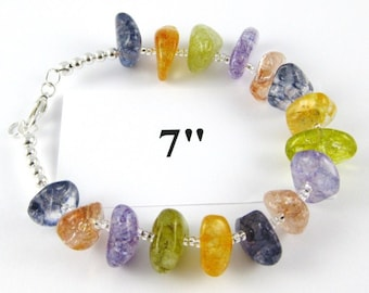 Summer Ice cracked multicolor quartz nugget bracelet 7 inches model A