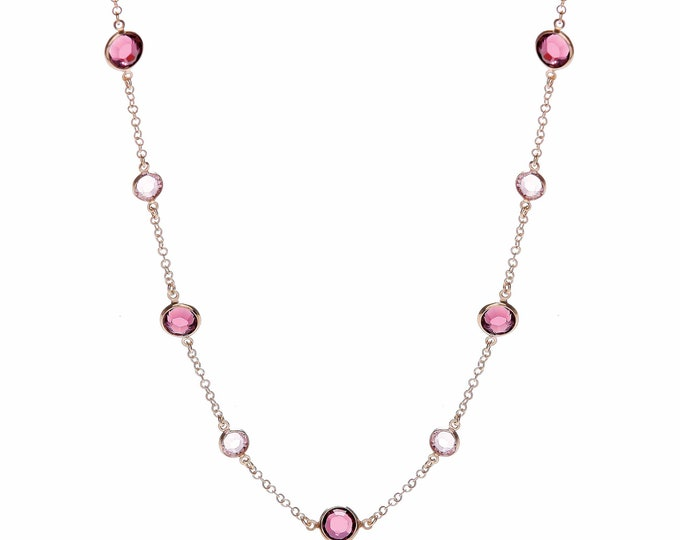 "Rose Gold On Silver 17"" Necklace Set With Pink & Purple Cz Stones"