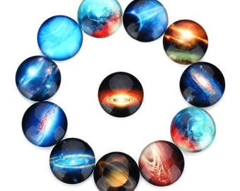 20pcs 10-25mm Mixed color The starry sky pattern Glass Cabochon, Cameo Cover, Flat back Cabochon