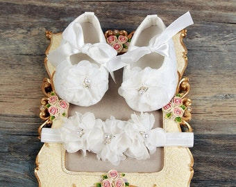 Simple & Sweet Ivory Baby Crib Shoe Set with Matching Headband/Christening Shoes/Baptism Shoe Set/OTHER COLORS/White/Pink/Black/Red/Hot Pink