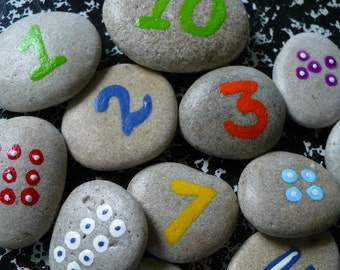 COUNTING ROCKS...fun childrens math game - holiday gift guide - learning tool-back to school-toddler-natural supplies