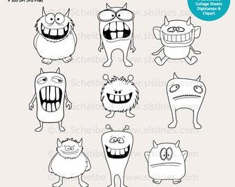 Digital Stamp cute monsters, whimsical monsters digistamp set, funny coloring monsters Halloween, DIY invites SLS Lines