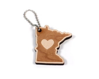Minnesota Engraved Wooden State Heart Keychain