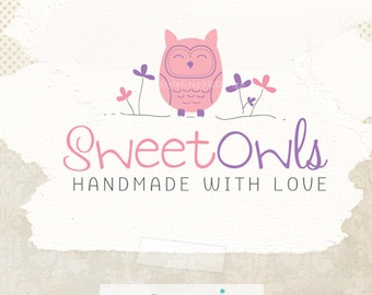Unique branding whimsical premade logo ooak business logo hand drawn logo and watermark