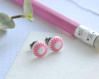 Pink & White Retro Design Earrings on Hypoallergenic Titanium Posts   Round Tiny Stud Earrings   Retro Pattern Earrings