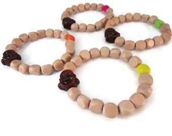 Light Wood Bead Bracelet Buddha Accessories, Neon Bracelet Wood Jewelry Design, Buddha Jewelry Bracelet Fluorescent Accessories for Women
