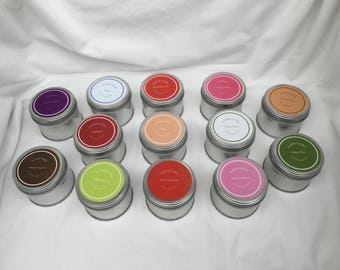 Set of 3 soy wax fragranced candles in a tin