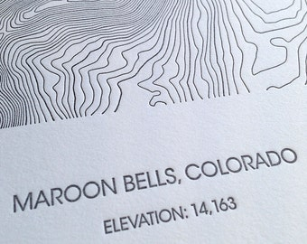 Maroon Bells Topographic Poster - Letterpress
