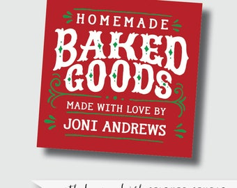 Homemade stickers, homemade with love stickers baked good sticker cookie exchange sticker cookie label baked goods label from the kitchen of