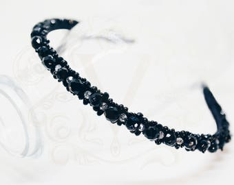 Sara Black crystal hairband Rhinestone black tiara Daily headband Rhinestone diadem Black haipiece black headband Swarovski clear tiara