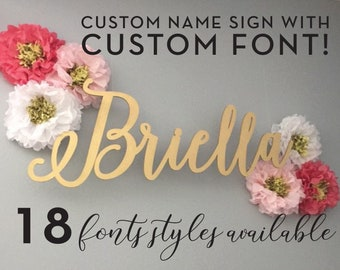 Custom Large Laser Cut Name or Word Sign with Different Font Selections