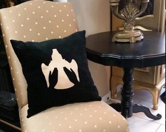 Velvet Wing and a Prayer Motif Decorative Throw Pillow