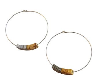 Metal Sequin Hoop Earrings; Silver and Gold; Hoop Earrings; Sequin Jewelry; New Years Eve Jewelry; Sparkle Jewelry