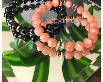 Onyx and Sunstone Energy Stone Set 8mm Round Bead Healing Yoga Mala Bracelet Jewelry Luxe Bohemian Gift For Men Women