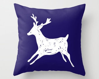 Reindeer Pillow with insert - Navy and White - Christmas Decorative Pillow - Accent Pillow - Deer Antlers Pillow - Holiday Decor - Rustic