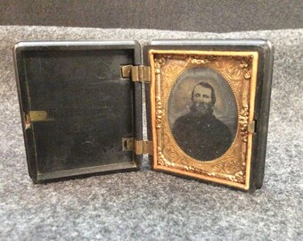 1800's Bookcase Tin Type Photo E-190