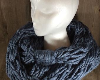 Super Bulky Arm Knit Infinity Scarf ~ Washington Denim