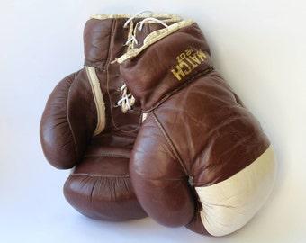 Vintage Boxing Gloves. Antique Boxing Gloves. Leather Gloves. Leather. Box. Sport. Antique  Boxing Gloves. Retro. Soviet era