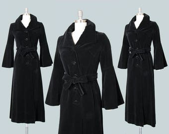 RESERVED FOR SUSAN // Vintage 1960s Coat | 60s Black Velvet Belted Trench Coat with Bell Sleeves Witchy Long Jacket (small)