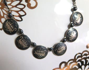 Sterling Silver Viking Boat Necklace