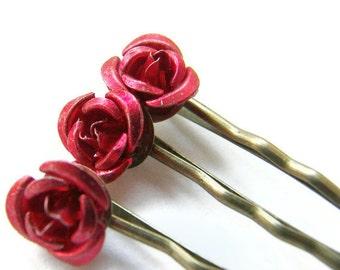 Red Rose Bobby Pin Set, Christmas Gift, Gift for Mum