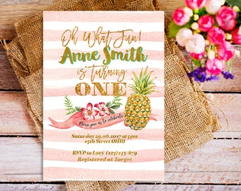 1st birthday pineapple invitations, pink pineapple invitations, pineapple summer birthday party, turning one invitations, girl pineapple