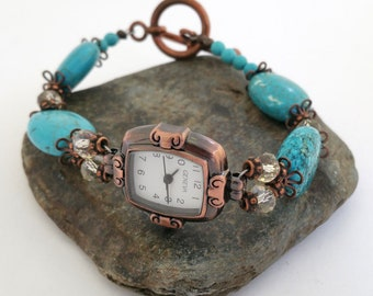 Turquoise and Antique copper watch