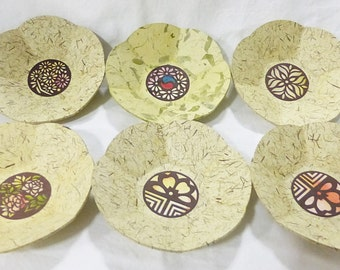 Japanese paper mache bowls set of 6 in original box home decor