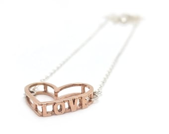 Love Necklace. 3D Printed 18K Gold, Rhodium, or Rose Gold Brass or Sterling Silver Necklace